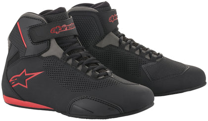 Alpinestars Men's Sektor Vented Black, Grey and Red Riding Shoes - Alpinestars Shoes