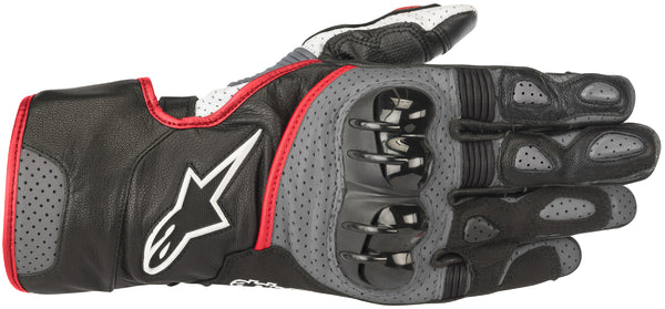 Alpinestars Men's SP-2 v2 Black, Grey and Fluorescent Red Gloves - Alpinestars Gloves