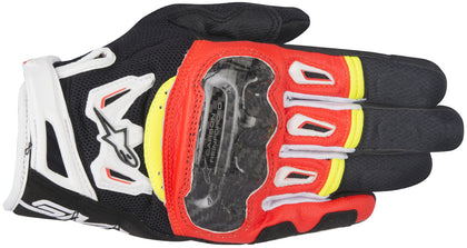 Alpinestars Men's SMX-2 Air Carbon v2 Black, Fluorescent Red, White and Fluorescent Yellow Gloves - Alpinestars Gloves