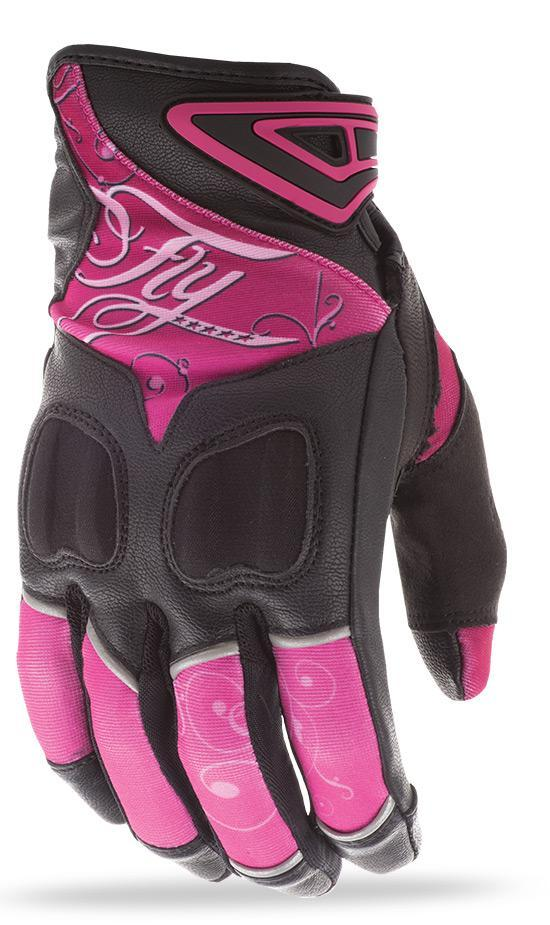 Fly Racing Venus Women's Pink/Black Leather/Textile Gloves