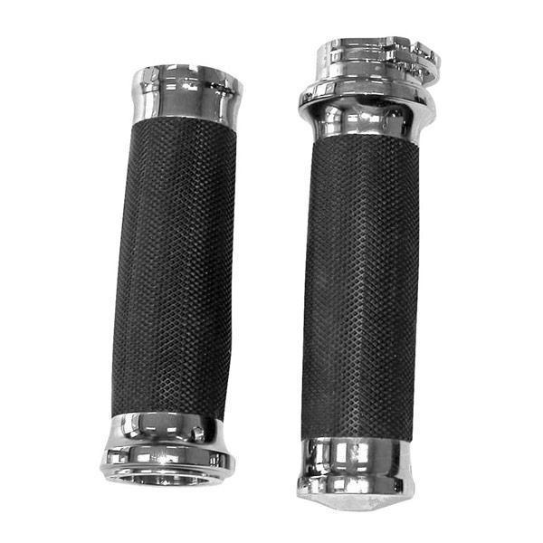 Bikers Choice Chrome Tornado Grips for Harley Davidson dual cable with 1 inch handlebars