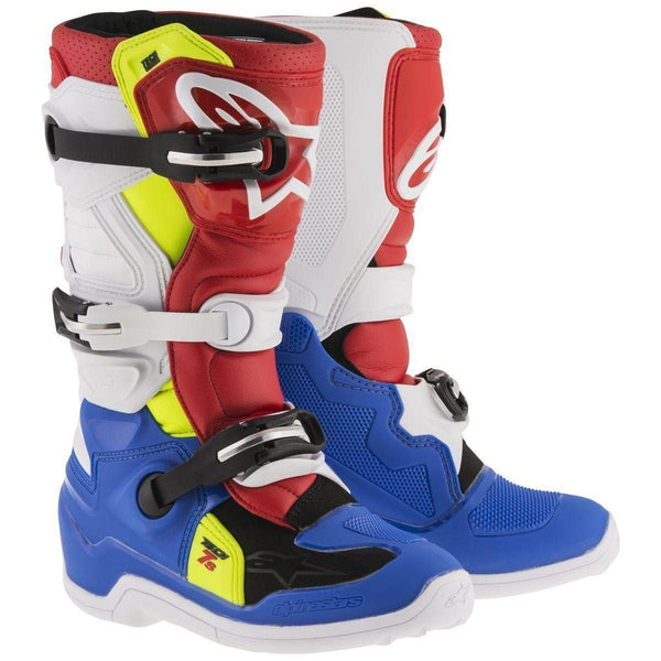 Alpinestars Tech 7S Youth Blue/White/Red/Yellow Motocross Boots - N/A
