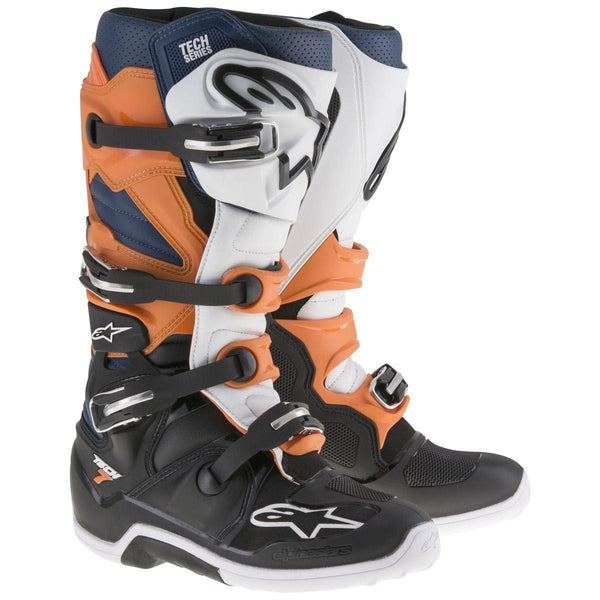 Alpinestars Tech 7 Enduro Men's Black/Orange/Blue/White Motocross Boots - N/A