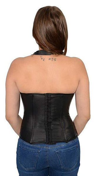 Milwaukee Leather MLL4580 Women's Black Lambskin Leather Zipper and Lace Halter Top