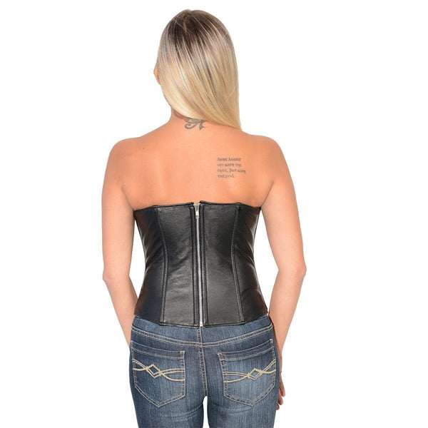 Milwaukee Leather MLL4584 Women's Black Open Front Studded Lambskin Leather Corset