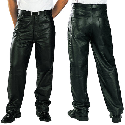 Xelement 860 Men's 'Classic' Black Loose Fit Leather Pants - Xelement Mens Leather Pants