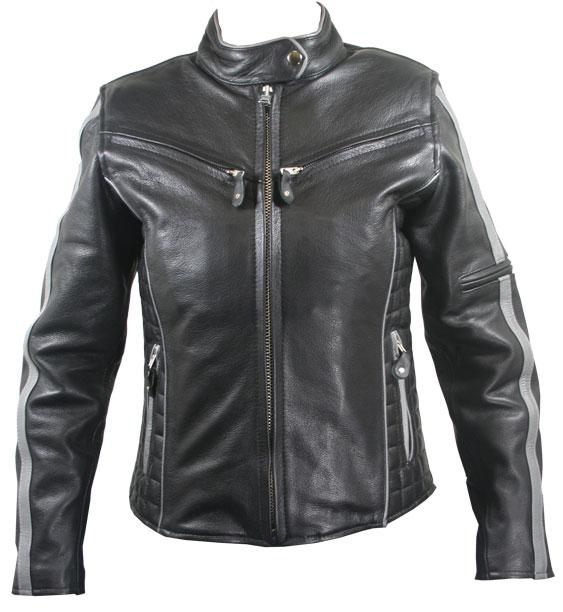 Xelement B7065 Women's Black/Silver Multi Vented Leather Motorcycle Jacket