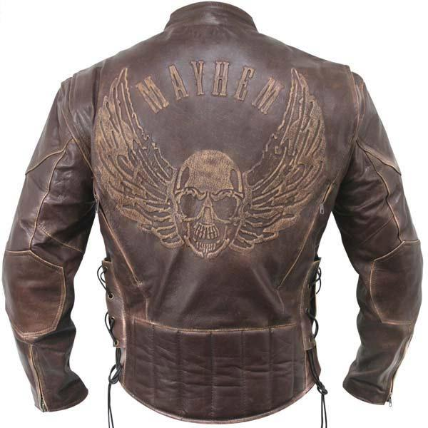 Xelement B96200 Men's Brown Flying Skull Premium Leather Racer Jacket