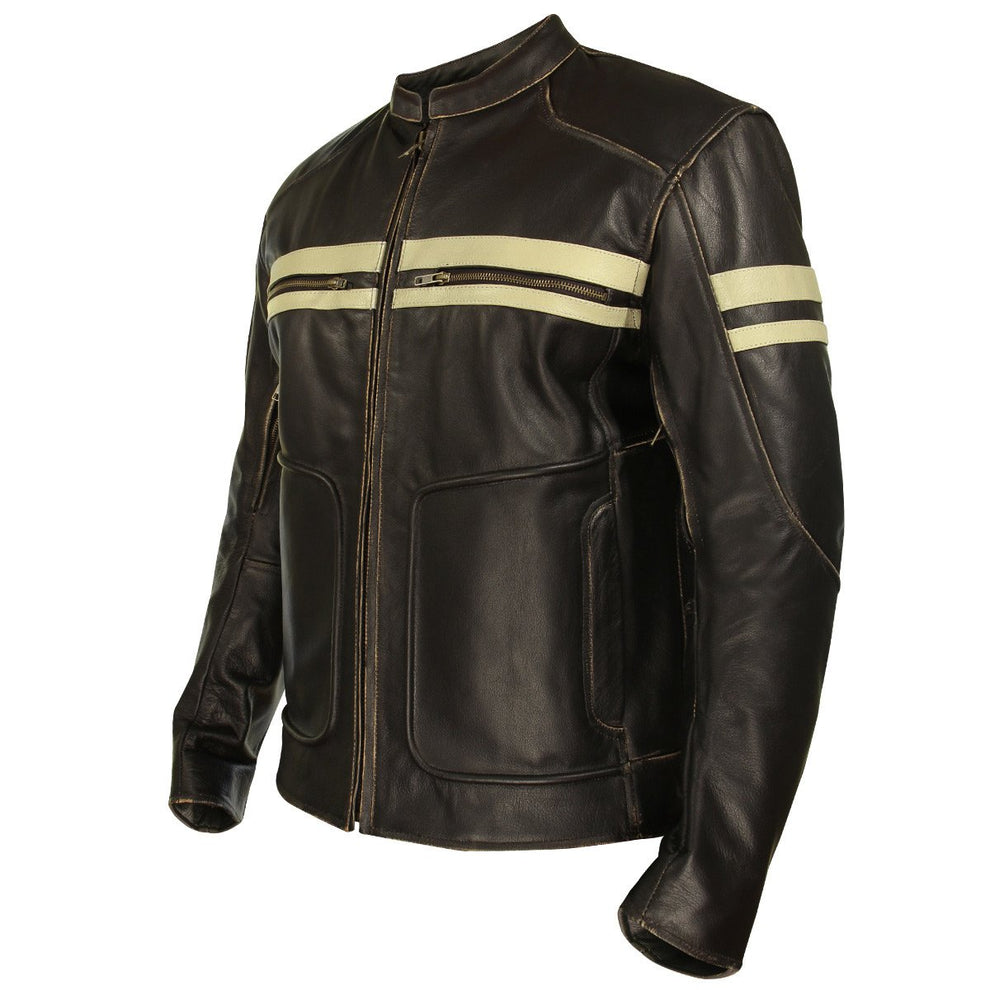 Xelement BXU165250 Men's Brown Leather Cruiser Jacket