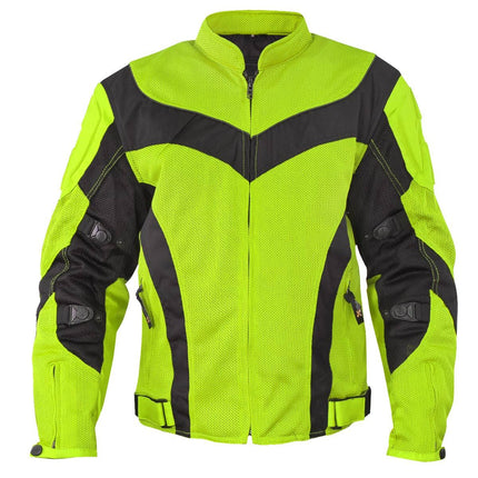 Xelement CF-6019-66 'Invasion' Men's Neon Green Mesh Armored Motorcycle Jacket
