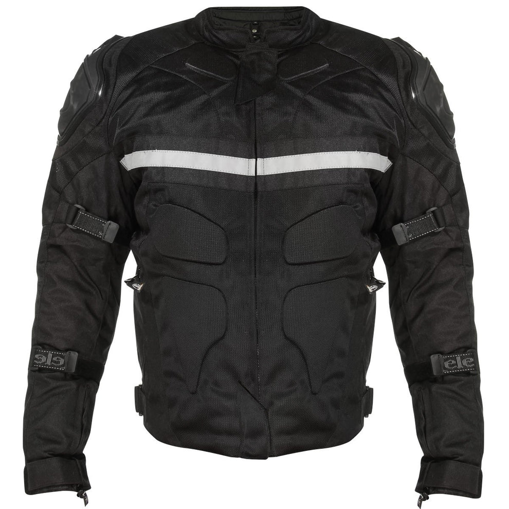 Xelement CF751 Men's Black Tri-Tex Motorcycle Jacket with Level-3 Armor