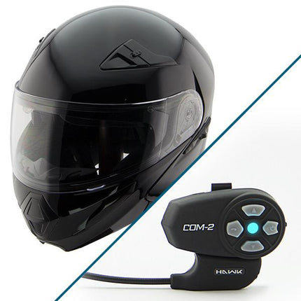 Hawk XFZ-9120 Gloss Black Modular Helmet with Hawk COM-2 Bluetooth Intercom