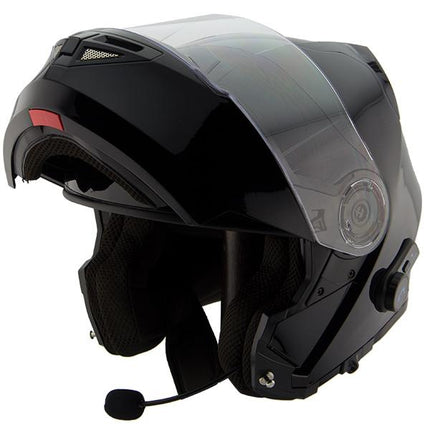 Hawk H7000 Glossy Black Modular Motorcycle Helmet with Blinc Bluetooth