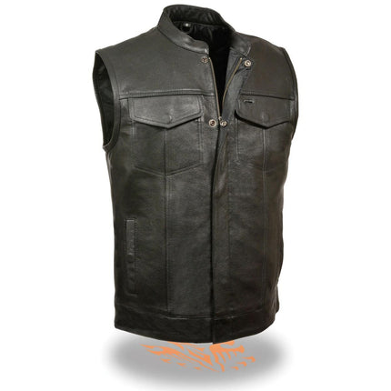 Milwaukee Leather Men's Open Neck Snap/Zip Front Leather Vest