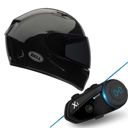 Bell Qualifier Solid Black Full Face Helmet with Hawk X1 Black Bluetooth Motorcycle Headset