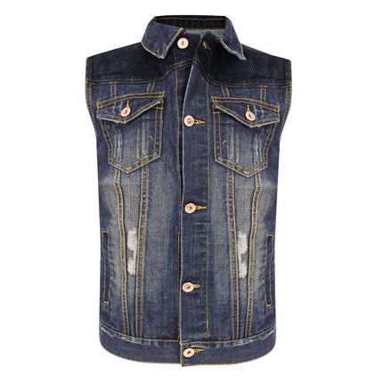 Delux RCJV2 Men's Vintage Blue Denim Casual Vest
