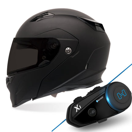 Bell Revolver Evo Matte Black Full Face Modular Helmet with Hawk X1 Black Bluetooth Motorcycle Headset