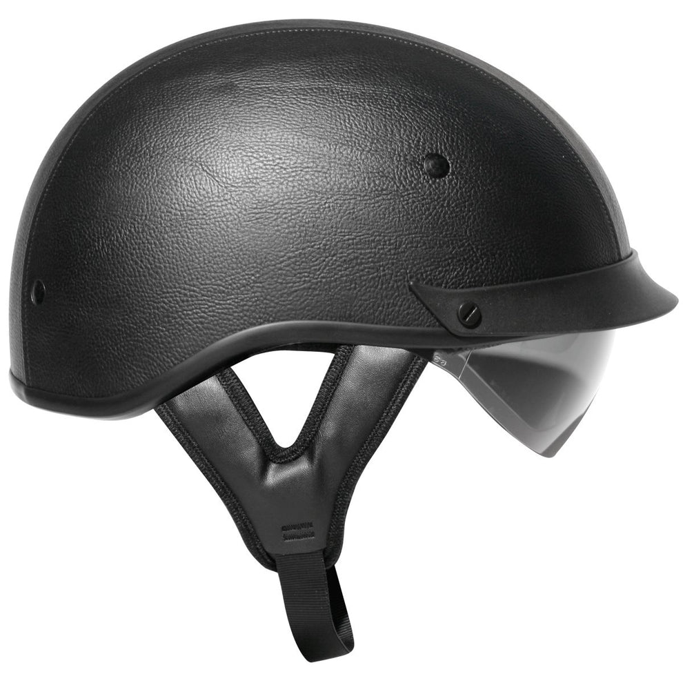Outlaw T-72 Black Synthetic Leather Dual-Visor Motorcycle Half Helmet