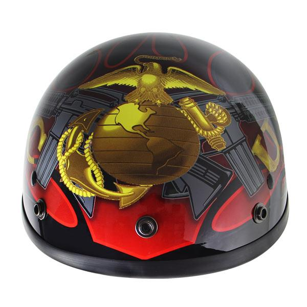Outlaw T70 Glossy Motorcycle Half Helmet with Officially Licensed U.S. Marines Graphics