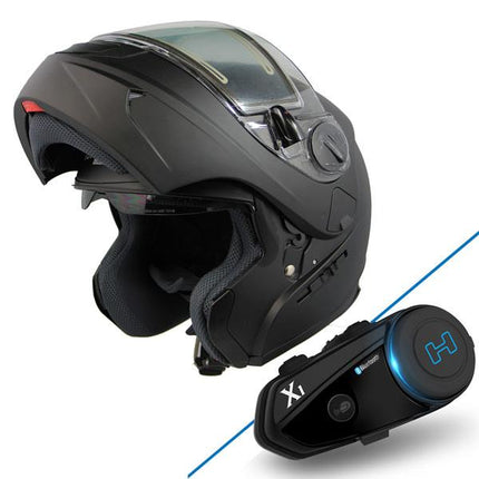 Snow Master TX-797S Flat Black Modular Snowmobile Helmet with X-1 Black Blue Tooth System Bundle