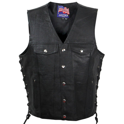 USA Leather VC207 'Gunner' Men's Leather Vest with Inside Gun Pocket