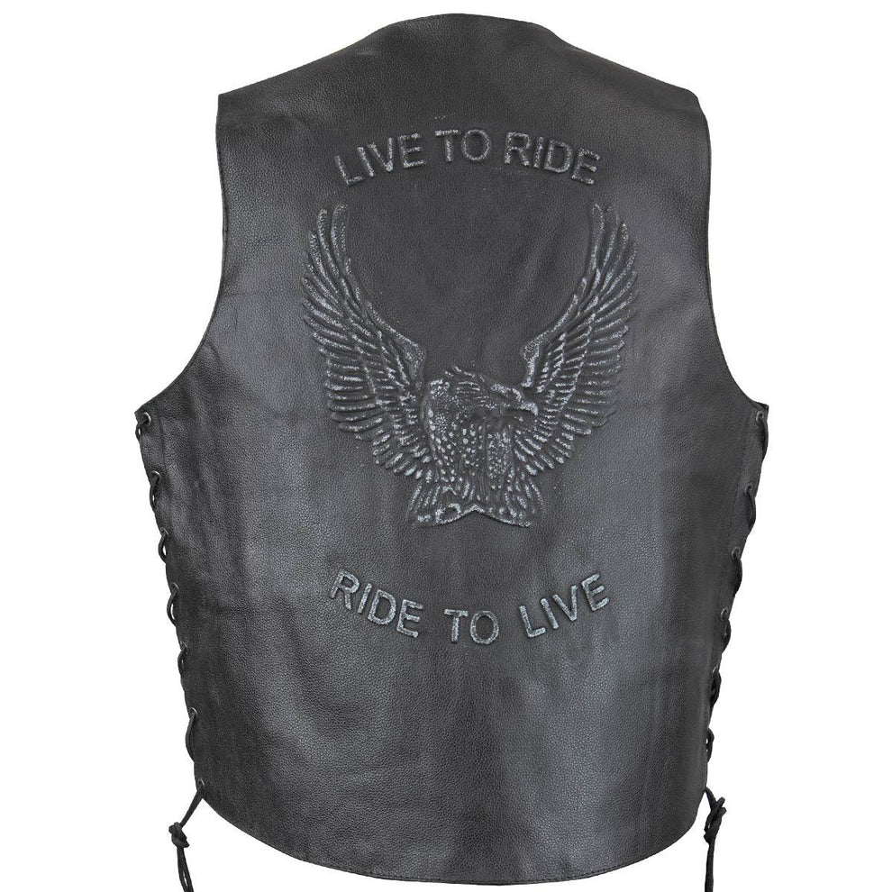 Xelement VE9700 Men's Black Embossed Live to Ride Eagle Leather Vest