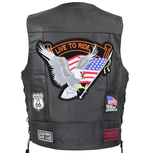 Xelement VP9160 'Live to Ride' Men's Black Leather Vest with Concealed Gun Pocket