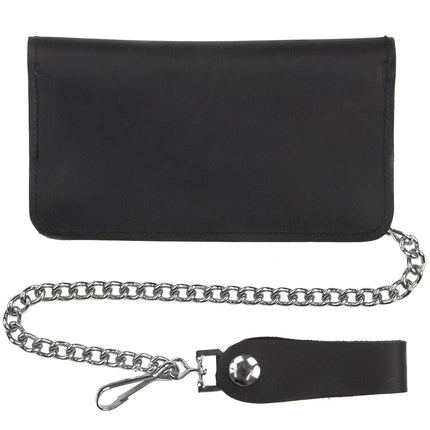 Bi-fold 6 1/2 Inch Black Leather Biker Wallet