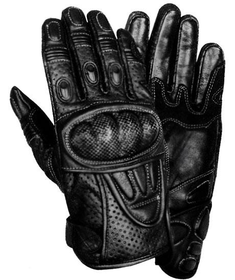 Xelement XG298 Men's Black Leather Protective Padded Racing Gloves