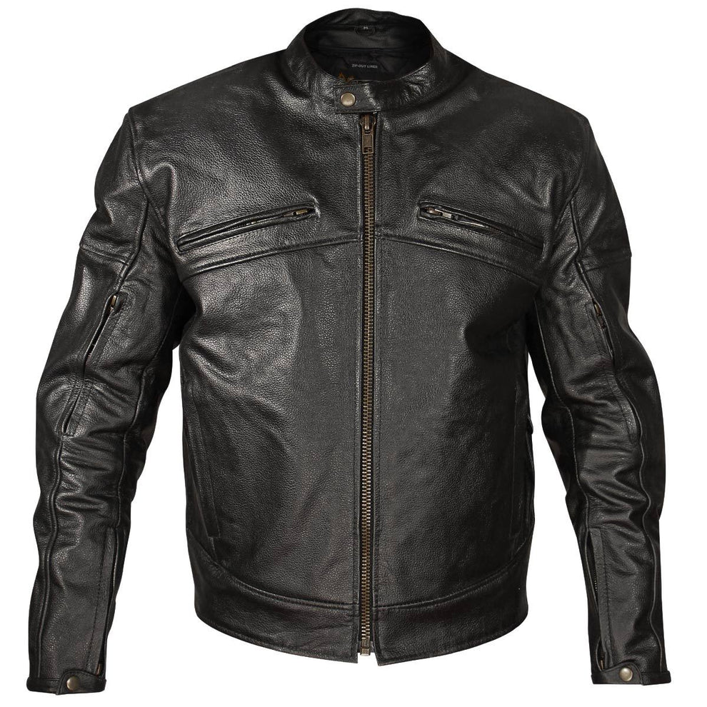 Xelement XSPR105 'The Racer' Mens Black Armored Leather Racing Jacket