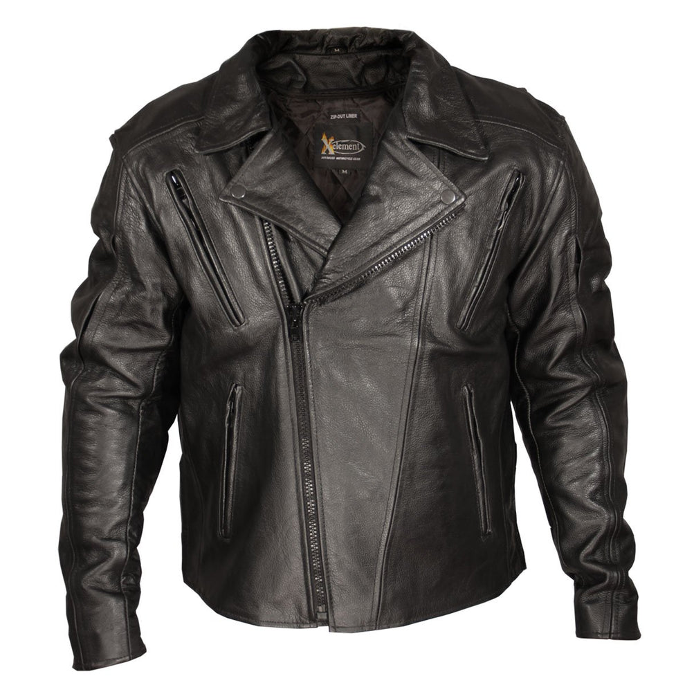 Xelement XSPR1057 'Blackout' Mens Black Armored Leather Motorcycle Jacket
