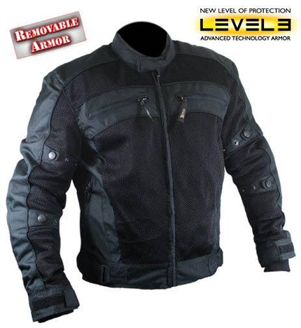 Xelement CF380 Men's Black Armored Mesh Jacket
