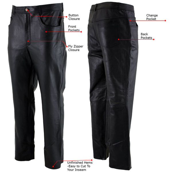 Xelement B7400 'Classic' Black Men's Fitted Leather Pants - Xelement Mens Leather Pants