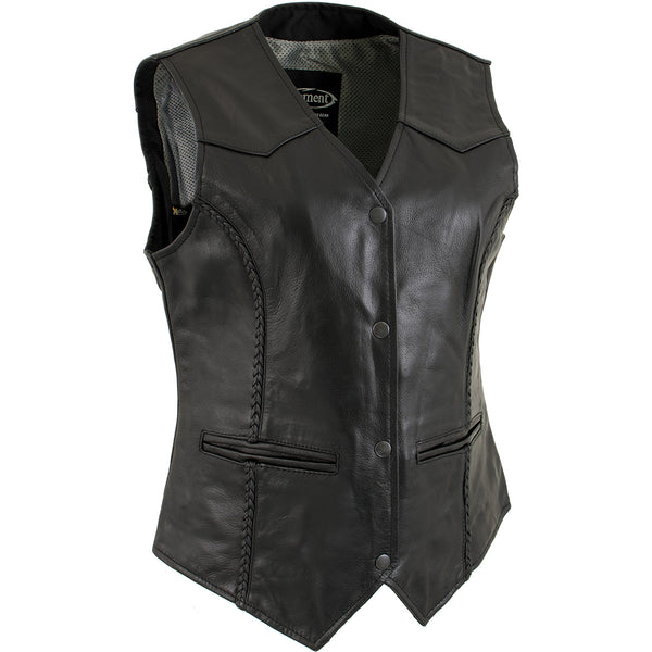 Xelement B206 'Road Queen' Women's Black Leather Braided Vest - Xelement Womens Leather Vests