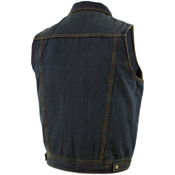 Xelement B284 'Dirty' Men's Dirty Blue Denim Motorcycle Vest - Xelement Mens Denim Vests