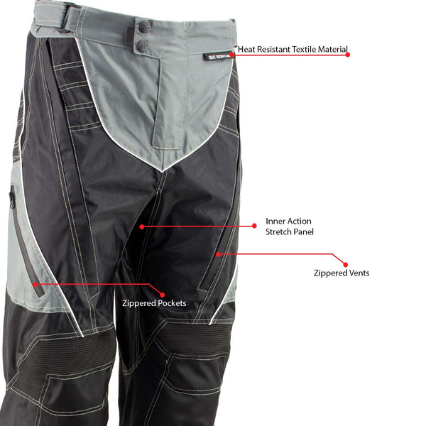 Xelement B4402 Men's Advanced Black and Grey Advanced X-Armored Tri-Tex Fabric Motorcycle Pants - Xelement Mens Tri-Tex Pants