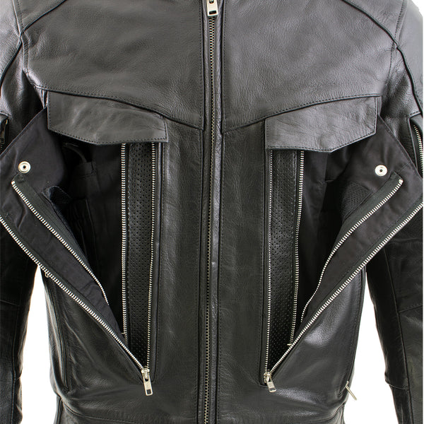 Xelement B4495 'Bandit' Men's Black Buffalo Leather Cruiser Motorcycle Jacket with X-Armor Protection - Xelement Mens Leather Jackets