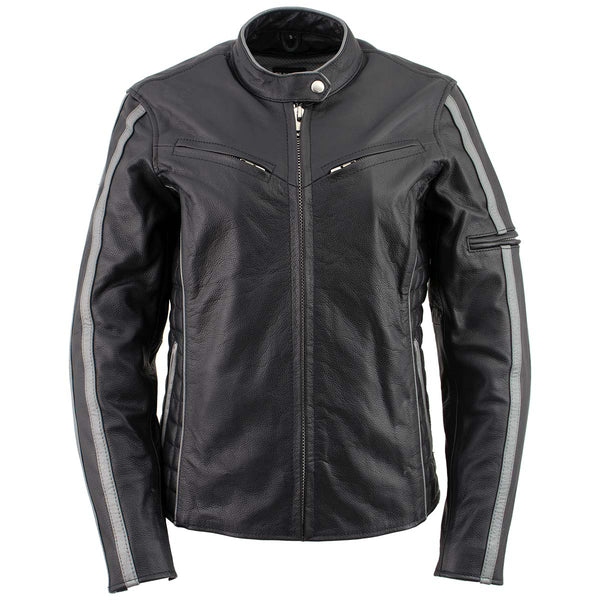Xelement B7065 Women's 'Silver Fox' Black with Silver Multi Vented Leather Motorcycle Jacket - Xelement Womens Leather Jackets