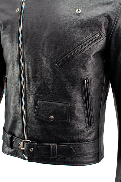 Xelement B7100 'Classic' Men's Black TOP GRADE Leather Motorcycle Biker Jacket - Xelement Mens Leather Jackets