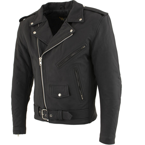 Xelement B7108 'Eazy' Men's Flat Black Leather Jacket with Protective X-Armor - Xelement Mens Leather Jackets