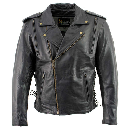 Xelement B7210 Men's 'Cool Rider' Black Vented Leather Motorcycle Jacket - Xelement Mens Leather Jackets