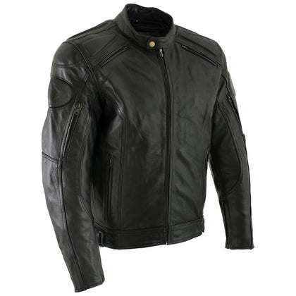 Xelement B7366 'Executioner' Men's Black Leather Racer Jacket with X-Armor Protection - Xelement Mens Leather Jackets