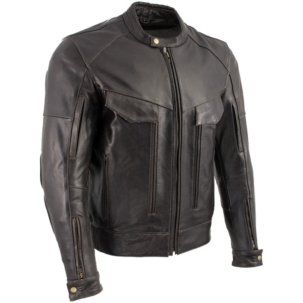 Xelement B7496 'Bandit' Men's Retro Distressed Brown Leather Jacket with X-Armor Protection - Xelement Mens Leather Jackets