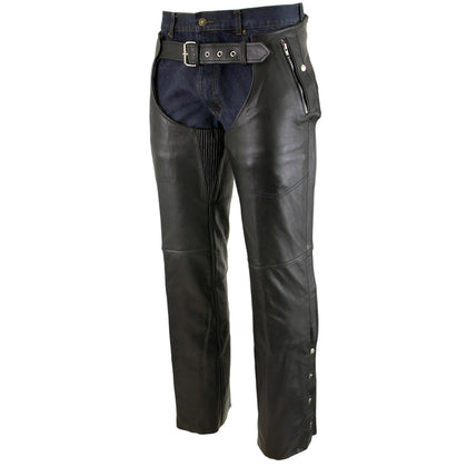 Xelement B7561 Men's Black Cowhide Leather Motorcycle Chaps with Removable Insulating Liner