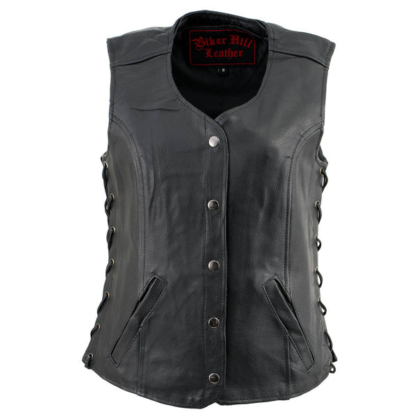 Biker Hill Leather BAL4700 Ladies Black Leather Side Laced Vest - Biker Hill Leather Womens Leather Vests