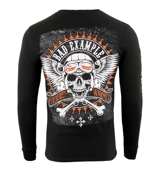 Biker Clothing Co. BCC117002 'Bad Example, You've Been Warned' Long Sleeve T-Shirt - Biker Clothing Co. Shirts