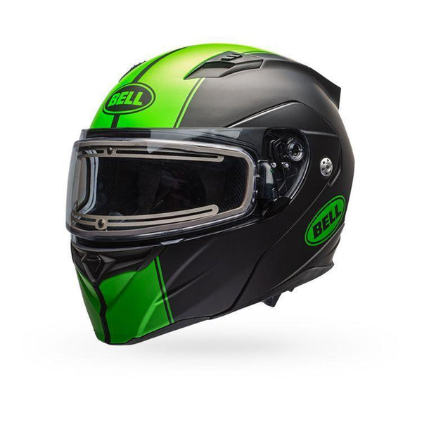 Bell Revolver Evo Rally Matte Green Modular Snowmobile Helmet with Electric Shield - Bell Helmets