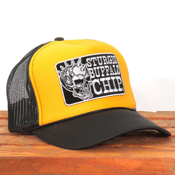 Official Sturgis BFA2023 Buffalo Chip Spiked Skull Yellow and Black Trucker Hat - Hot Leathers Hats and Caps
