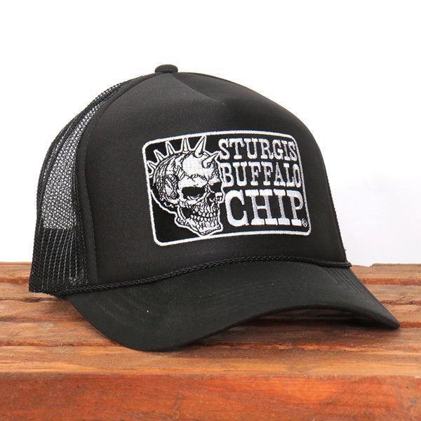 Official Sturgis BFA2024 Buffalo Chip Spiked Skull Black Trucker Hat - Hot Leathers Hats and Caps