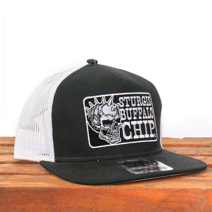 Official Sturgis BFA2025 Buffalo Chip Spiked Skull Black and White Trucker Hat - Hot Leathers Hats and Caps